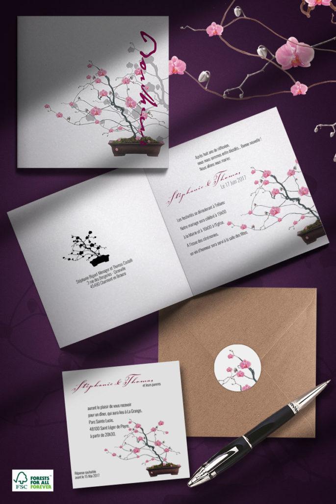 faire-part de mariage orchidee