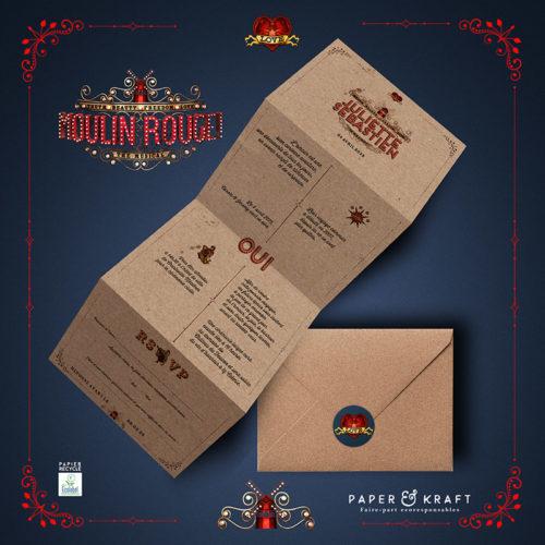 faire-par tde mariage en papier recyclé theme Moulln Rouge