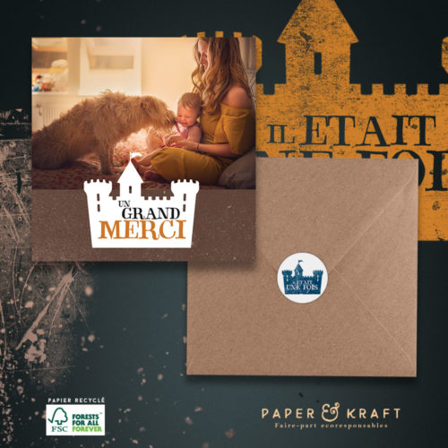 carte de remerciements naissance theme chateau fort